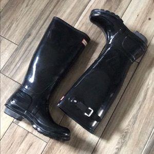 Tall Glossy Black Hunter Rainboots